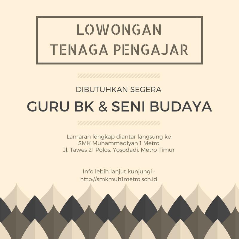 Info Lowongan Kerja Guru di SMK Muhammadiyah 1 Metro