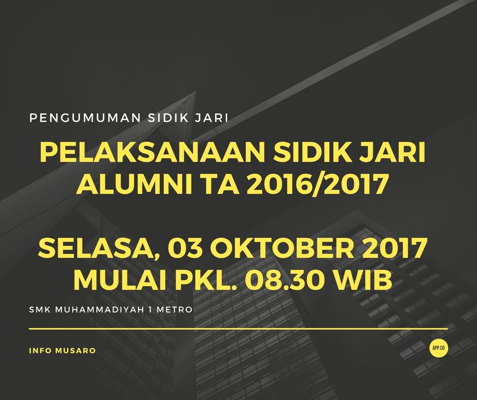 Pengumuman Sidik Jari Alumni TA.2016/2017