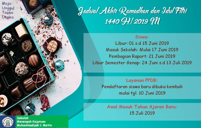Jadwal Akhir Ramadhan dan Idul Fitri 1440 H / 2019